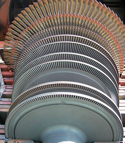 A turbine with the top casing removed.
